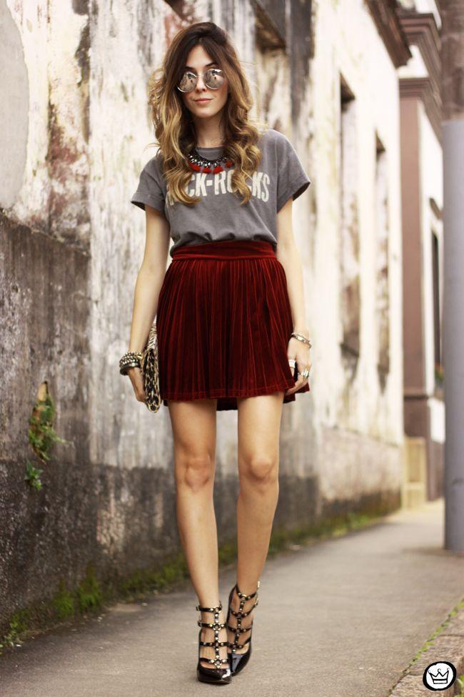 FashionCoolture - 15.07.2015 look du jour Velvet pleated skirt rocker outfit (7)