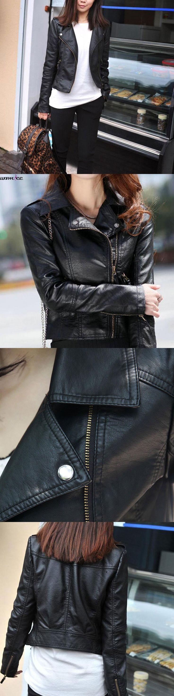 Leather Jacket Women Spring Rivet Zipper Slim Motorcycle Faux Female Leather Jackets  Paragraph Lapel PU Women Leather Jacket