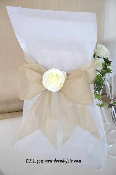 6 housses de chaise blanc mariage wedding and wedding for Housse pour chaise
