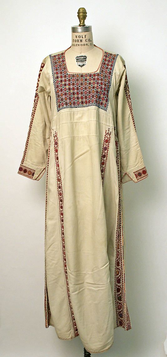 Middle Eastern Dress (Palestinian Peoples) Mid-20th Century. Cotton.