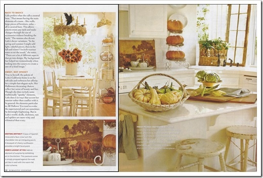 Love the stacked pumpkins in the kitchen!