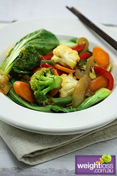 Low Fat Recipes: Vegetable Stir Fry. #HealthyRecipes #DietRecipes #WeightlossRecipes weightloss.com.au