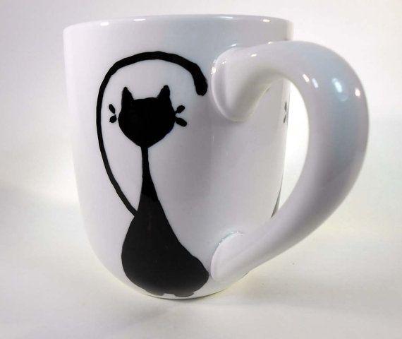 Kitty Love Cat Lover Hand Painted Stoneware Coffe Mug Ready to Ship!