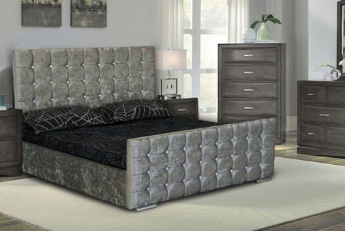 From 180.00 Double/ Kingsize Cubed Upholstered Crushed Velvet Bed Frame Storage In Silver & Black Colour. Sleepkings - Sleep Well For Less (5ft Kingsize Silver Crushed Velvet)
