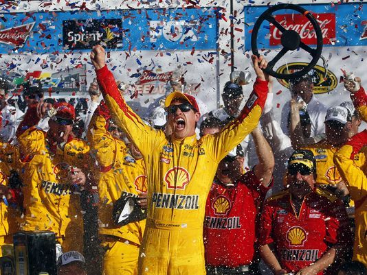 Joey Logano celebrating winning the 2015 Daytona 500!