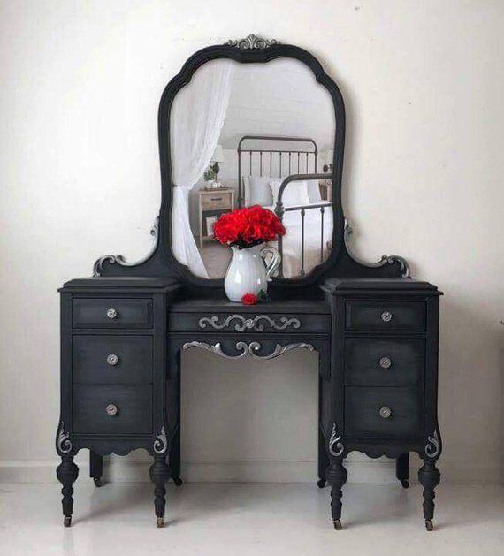 Sold Custom Finish Available Vintage Vanity Dressing Table Make Up Vanity Handpainted Black With Tocadores De Epoca Cambio De Imagen De Muebles Muebles