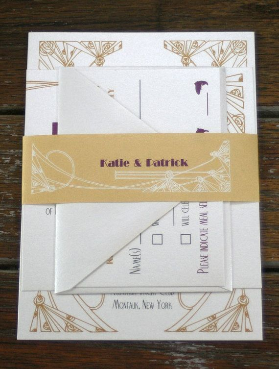 A sophisticated and elegant art deco wedding invitation that showcases the details of your art deco wedding with style. Gold art deco accents a
