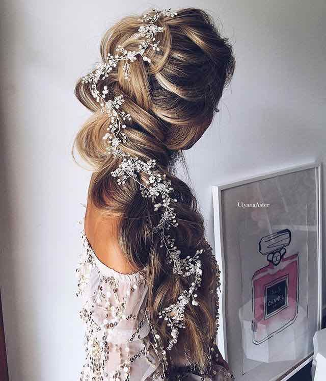 Soft and Loose Bridal Braid with Flower Headpiece