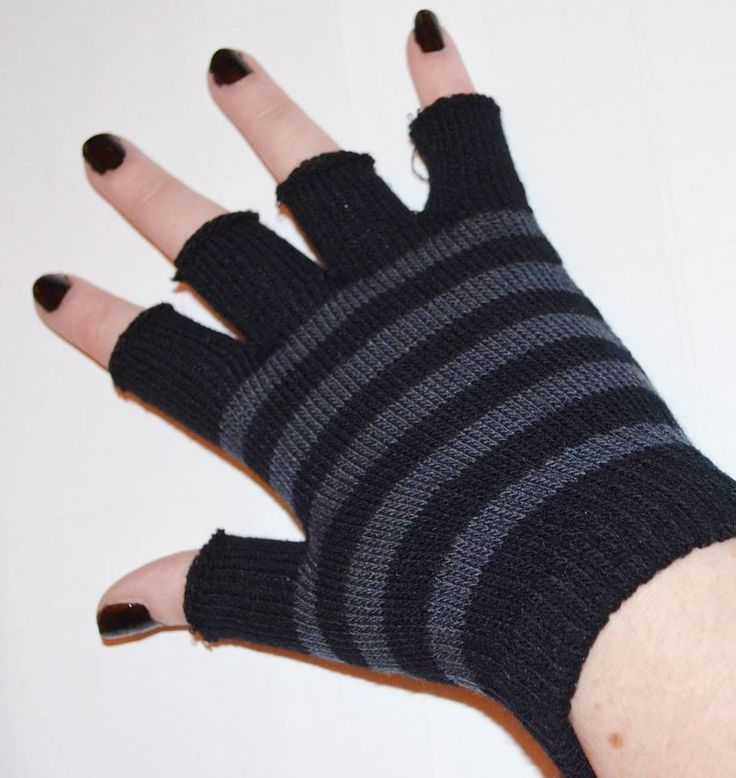 emo gloves | Grey and Black Striped Short Emo Fingerless Gloves
