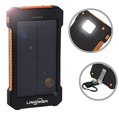 Solar Charger 10000mAh Laniakea Waterproof Solar Power Bank Dual USB Solar Battery Phone Charger with Carabiner LED Lights for iPhone iPod Samsung HTC Nexus Tablet and Android PhonesOrange >>> Want to know more, click on the image.