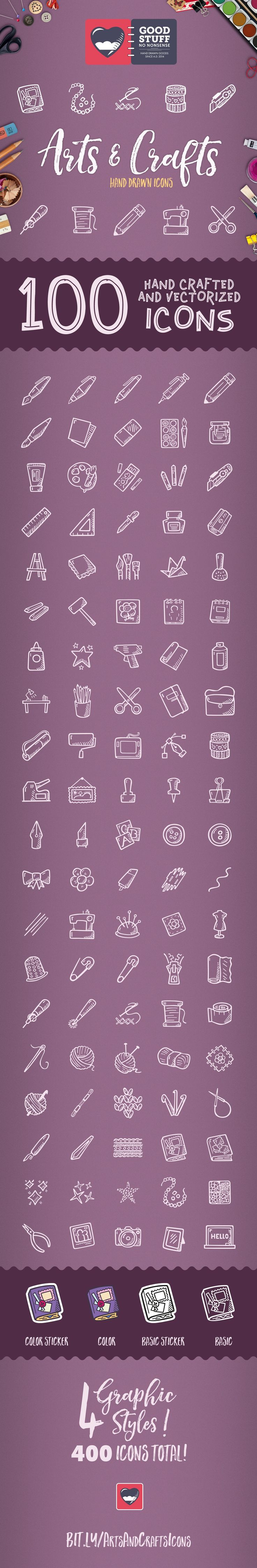 Arts & Crafts made by @weboutloud #handdrawn #icons #iconsets #handdrawnicons #doodle #drawing #clipart #tinyart #icon #icondesign #iconset #sketch #illustration #hobby #scrapbooking #crocheting #drawing #sewing