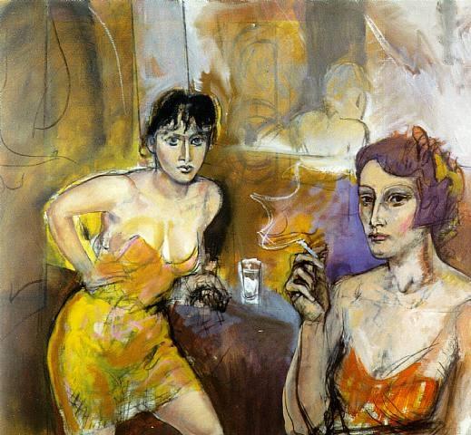 Alberto Sughi, Due donne al banco del bar, Oil on canvas, 35x35in, 1999