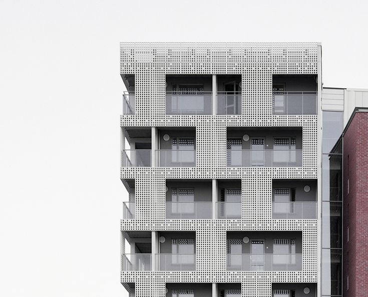 the perforated façade elements are 7 cm thick, smooth on all sides and provide an interesting external view from the interior of the building  image © rieder smart elements