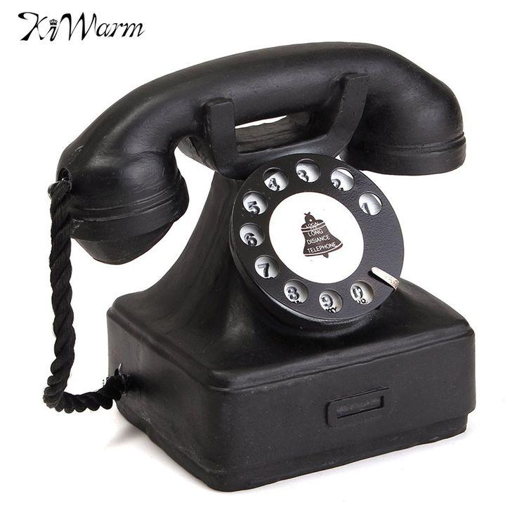 KiWarm Enfeites Para Casa Aparelho de Telefone de Mesa Ocidental Do Vintage 1940 s Preto Rotary Modelo Brinquedos Para Crianças Telefone Resina Artesanato Decoração Presente(China (Mainland))