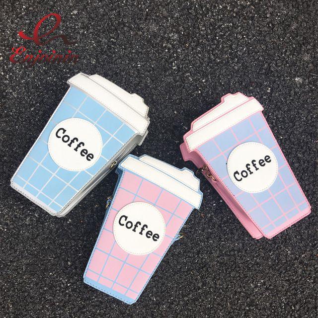 Divertido moda personalidade xícara de café bonito letra projeto cor hit xadrez mini saco cadeia ombro bolsa das senhoras saco do mensageiro da bolsa