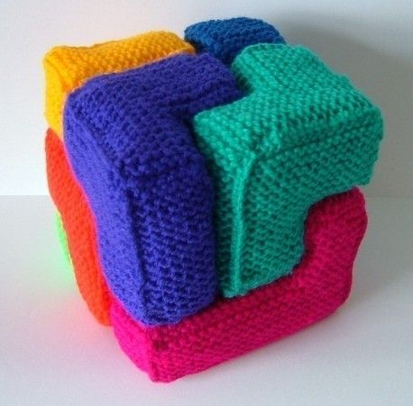 Knitting pattern for Soma Cube and more stash busting knitting patterns--but you can make this with wood blocks, cut-your-own-foam, etc.
