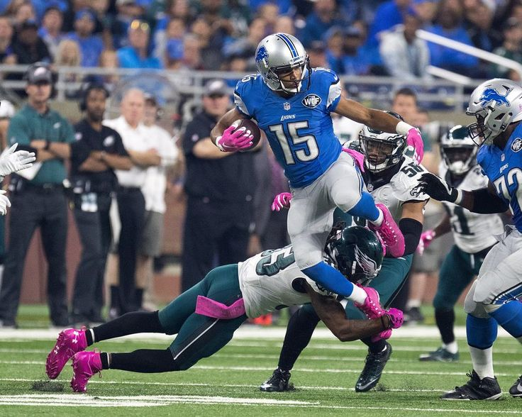 Eagles vs. Lions:  24-23, Lions, October 9, 2016  -         Wide receiver Golden Tate #15 of the Detroit Lions jumps over cornerback Ron Brooks #33 of the Philadelphia Eagles during an NFL game at Ford Field on October 9, 2016 in Detroit, Michigan. (Photo by Dave Reginek|Getty Images)