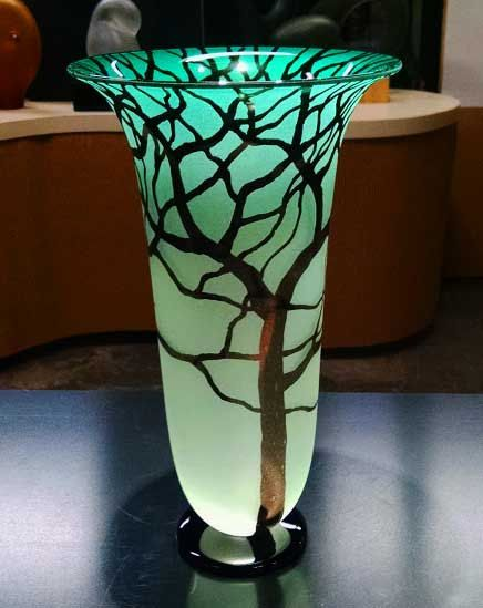 Hey, I found this really awesome Etsy listing at https://www.etsy.com/listing/118976107/jade-tree-vase-hand-blown-glass-vase