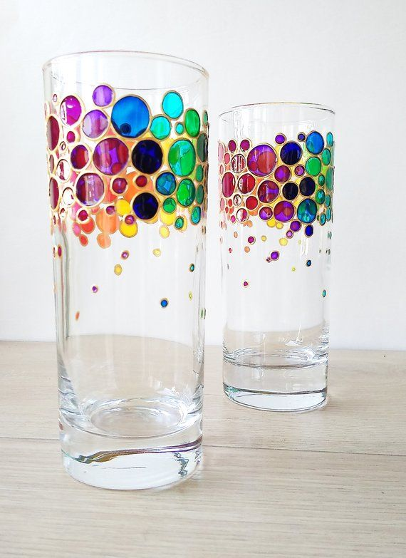Rainbow Drinking Glasses Set Of 2 Couple Colorful Water Glasses Painted Glass Tumblers Rainbow Bubbles Glasses Set In 2020 Paint And Drink Rainbow Drinking Glasses Painting Glass Jars