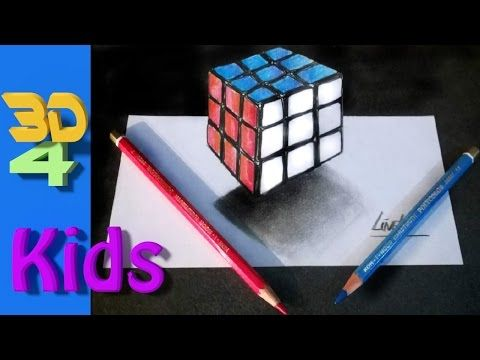 easy 3d for kids Rubik's Cube step by step drawing / #26 - YouTube