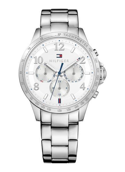 Horloge TH1781641 van Tommy Hilfiger. Dit klassieke dameshorloge is voorzien van een zilverkleurige kast en schakelband van staal. De witte wijzerplaat is afgew