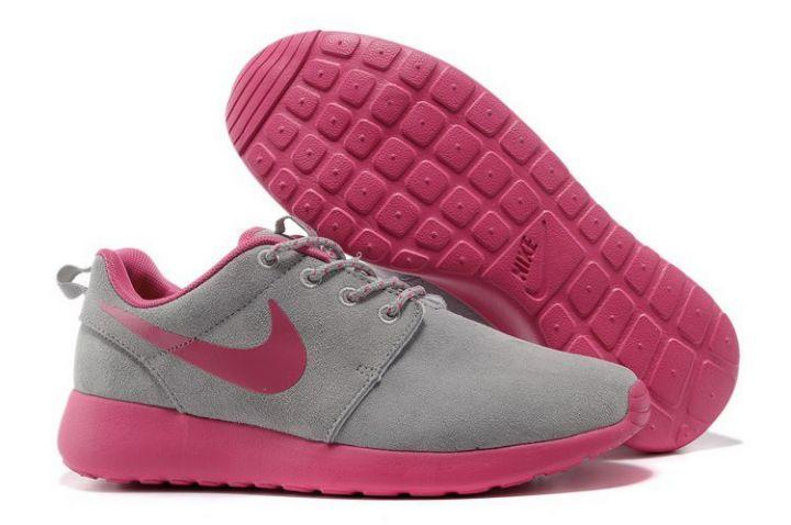 Goedkope Nike Roshe Run Womens Grijs Roze Schoenen IS174