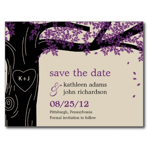 Purple Save the Dates. Really lie these ones too