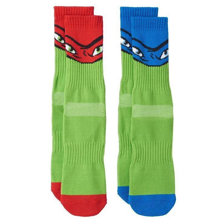 Boys 8-20 Teenage Mutant Ninja Turtles 2-Pack Athletic Socks, Boy's, Size: 9-11, Green
