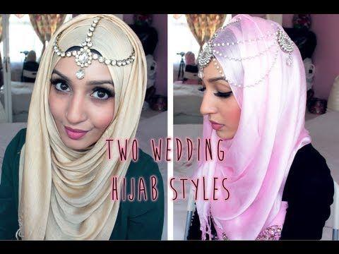 Two Wedding Hijab Tutorials - http://jewelry.ritmovi.com/engagement-wedding-jewelry/two-wedding-hijab-tutorials/