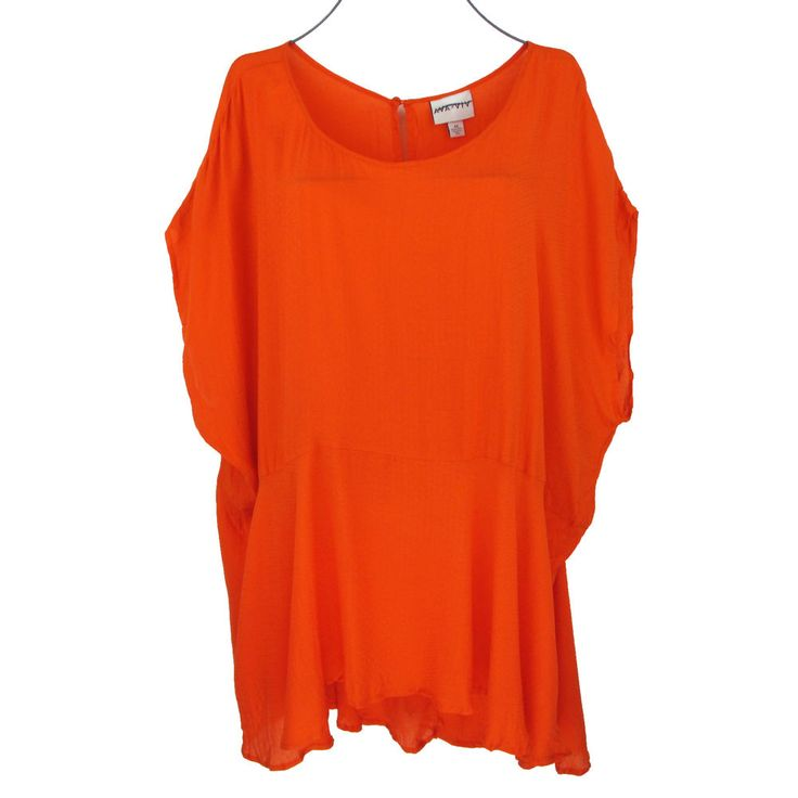 Womens 4X Tunic Top Plus Size 28W Orange Short Sleeve Peplum Rayon Blouse Career #AvaViv #Tunic #Career