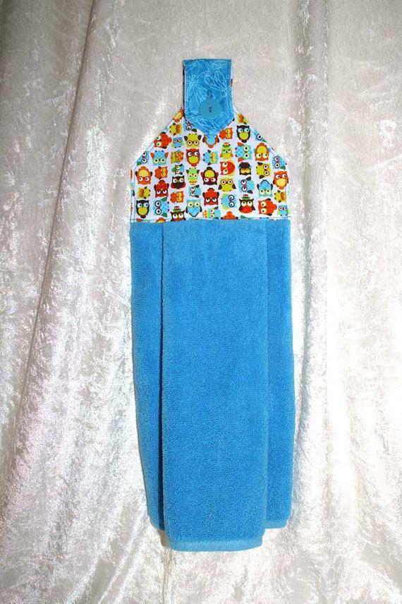 Owl Hanging Hand Towel U2022 Hanging Kitchen Towel U2022 Turquoise Tea Towel U2022  Glamping Towel U2022 Part 71