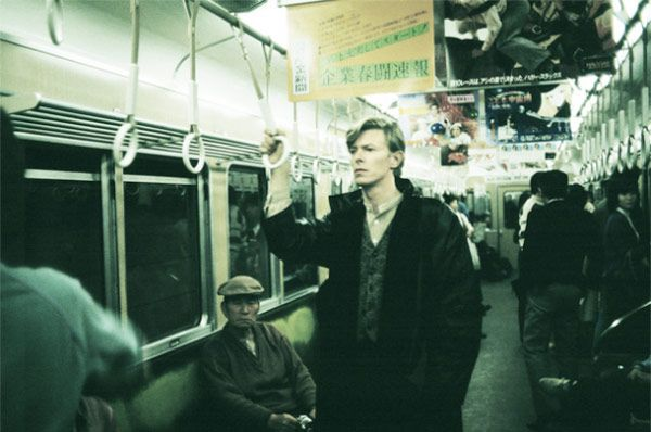Pictures of David Bowie doing normal stuff. 