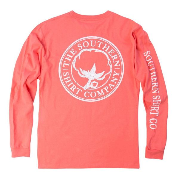 Seaside Logo Long Sleeve Tee in Georgia Peach by The Southern Shirt... ($38) ❤ liked on Polyvore featuring tops, t-shirts, red t shirt, preppy shirts, long sleeve shirts, preppy t shirts and logo shirts