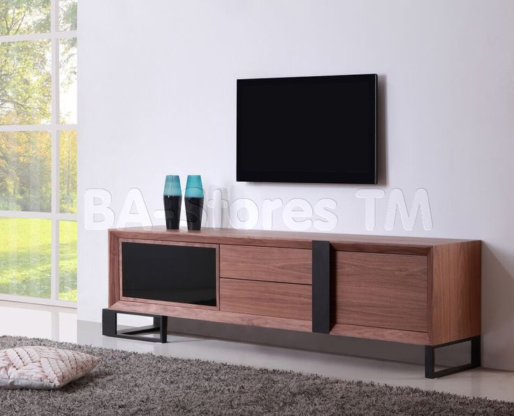 Entertainer TV Stand in Light Walnut / Black Steel by B-Modern