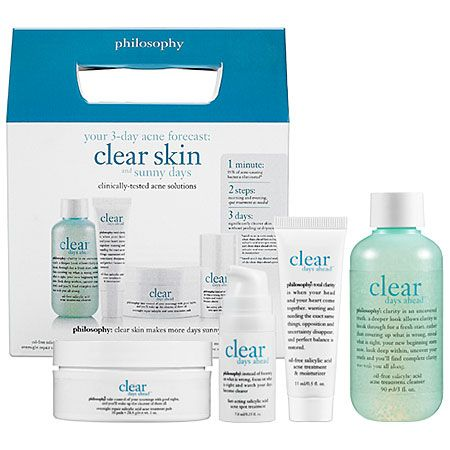 Philosophy Clear Days Ahead™ 30-Day Acne Trial Kit, this can really drys up your skin and will make the pimples heal faster, however, doesn't do much with stopping it from coming.