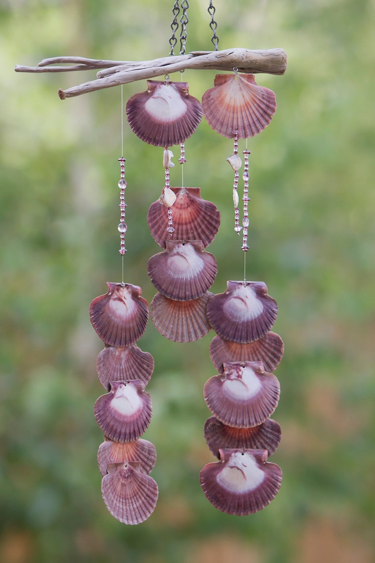 Wind chime made with Oregon Driftwood and Scallop Shells - $55 Etsy.com                                                                                                                        Add shop to favorites