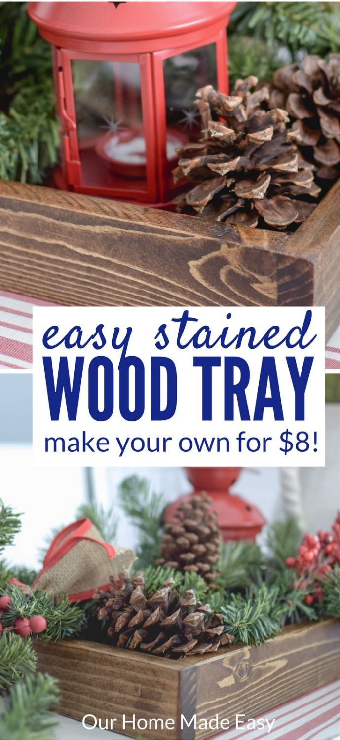 This is the quickest and easy wood tray to make yourself! Total cost is less than $8 and its perfect for beginners! Click to see how to make you own!