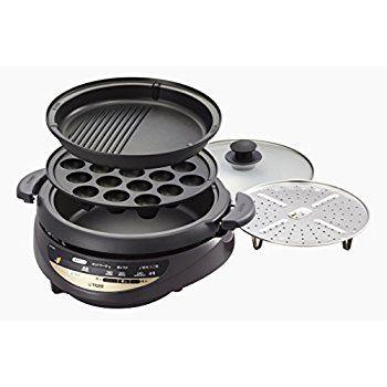 Amazon | タイガー グリル鍋 3.7L プレート 3枚 タイプ 深鍋 たこ焼き 焼肉 プレート 蒸し台 蓋 付き ブラウン CQG-B300-T | タイガー魔法瓶(TIGER) | グリル鍋 通販