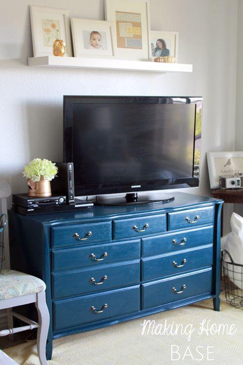 navy painted media stand repurposed dresser
