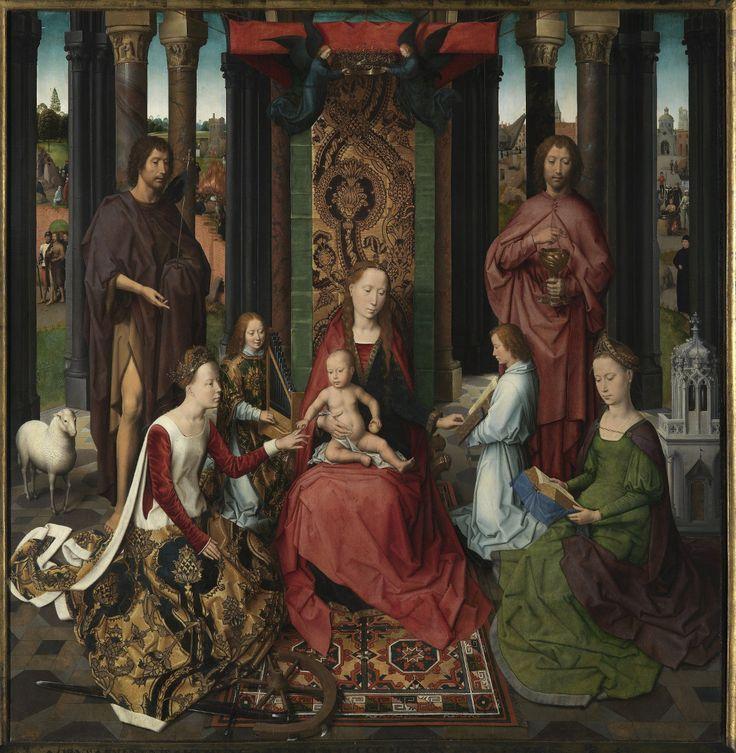 Hans Memling Sacra Conversazione; Op de achtergrond staan