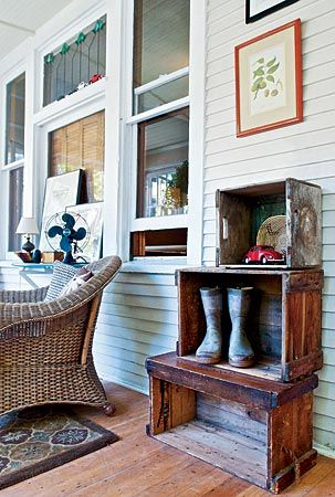love the crates on the porch