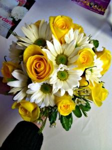 Yellow and white prom bouquet