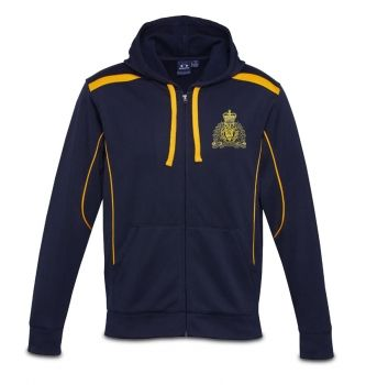 Stand out above the rest with the Crest Zip Hooded Jacket. Made of 100% polyester, this soft shell jacket is ideal for chilly nights or to wear as a compliment to your regular wardrobe. The navy hooded jacket features gold trim and the current RCMP crest silkscreened in gold on the left chest. Hooded Jacket also features matching modern loose-fit hem ribbing and a kangaroo pocket to keep those hands warm and toasty.