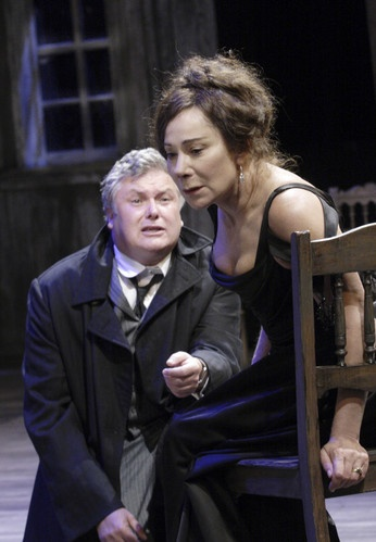 "The National Theatre's production of Chekhov's ""The Cherry Orchard"", London, 2011. Fantastic performance by Zoe Wanamaker as Madame Ranevskaya, seen here with the excellent Conleth Hill as Lopakhin."