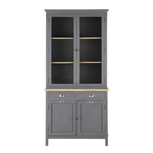 Wooden china cabinet in grey W 95cm