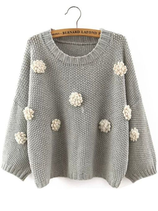 Shop Grey Round Neck Applique Crop Knitwear online. SheIn offers Grey Round Neck Applique Crop Knitwear & more to fit your fashionable needs.