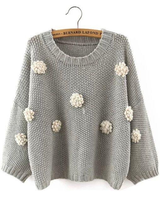 Suéter cuello redondo aplique crop -gris-Spanish SheIn(Sheinside)