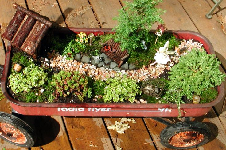 Image detail for -decided to make my fairy garden in my old radio flyer wagon this ...