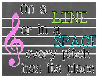 This simple chalkboard & neon music staff poster will look fabulous in your music classroom. This print provides a cute reminder for students that each note has its own place on the music staff.