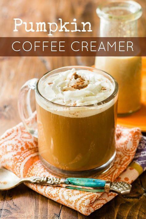 Homemade pumpkin coffee creamer made in 15 minutes with REAL pumpkin puree. Inexpensive and easy!! sallysbakingaddiction.com
